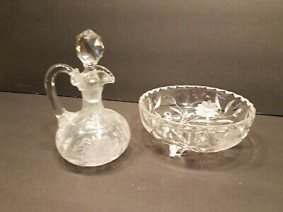 Set of 2 Vintage Diamond Cut Floral Glass Pieces - Oil Cruet and Candy, Nut Dish