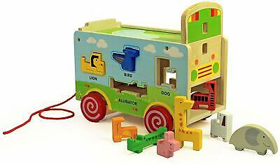 Wooden Pull along animals truck toy. Puzzles Educational Sorter Shapes Lorry Toy
