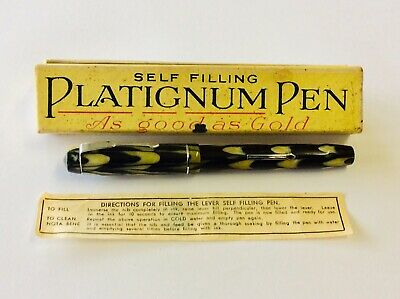 🔥 Genuine PLATIGNUM ENGLAND BOXED FOUNTAIN PEN 1930s Celluloid Green Repair
