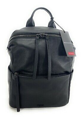 "Tumi Mezzanine Pebbled Leather Pat Backpack Fits 12"" Laptop Black 734301D"