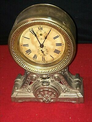 ANTIQUE SETH THOMAS METAL CASE ANTIQUE MANTLE CLOCK  (Not Running SOLD AS-IS)