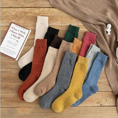 SALE 5-10 Pack Womens Cotton Wool Crew Socks Thick Warm Dress Casual Multicolor