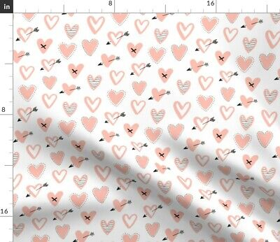 Blush Heart Modern Love Pink And Arrow Fabric Printed by Spoonflower BTY