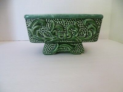 Vintage Chinese Ceramic Planter- Mid Century 3D Green Glazed Rectangular Planter