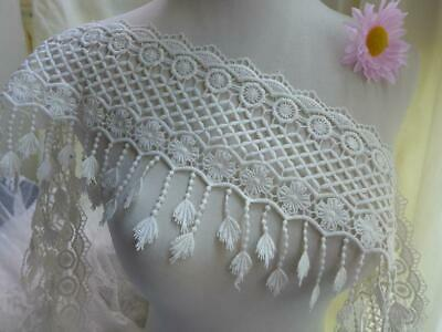 """Exquisite Guipure Venise Lace 6.3"""" Wide White Scalloped Fringe Lace Trim 2 Yards"""