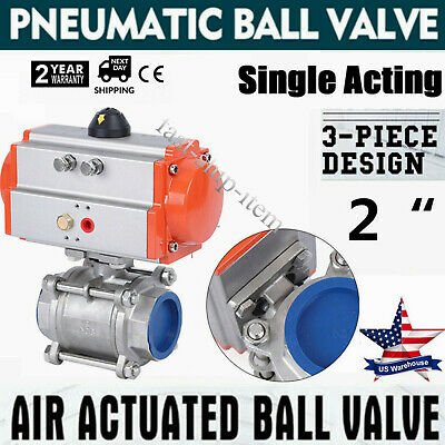 2inch 3 piece Pneumatic Actuated Stainless Ball Valve Single Acting Air Return