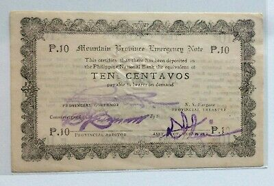 Philippines 1942,  WW2 , Mountain Province Emergency Note ,10 Centavos
