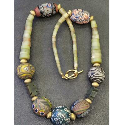 Lovely Necklace with Antique Jade stone & Mosaic Glass & face bead  # 59