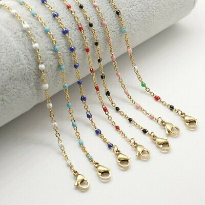 Stainless Steel Link Cable Chain Necklace Enamel Beaded Chain Jewelry Findings