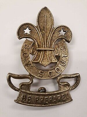 Ca1910 Original Large Pressed Metal Boy Scout Hat Badge • BE PREPARED