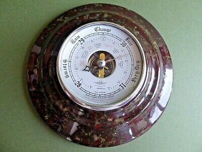 RARE Vintage Early 20thC IMMACULATE 'Shortland SB' BAROMETER in SERPENTINE STONE