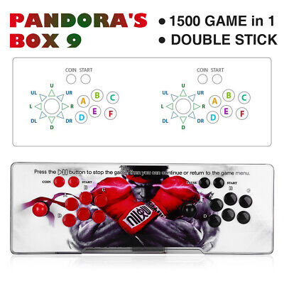 Pandora's Box 9 1500 in 1 Classic Video Games 2 Player Arcade Console VGA HD Red