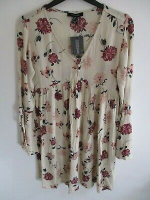 Primark Atmosphere Ladies Cream Floral Long Sleeve Tunic Top Uk 8 New With Tags