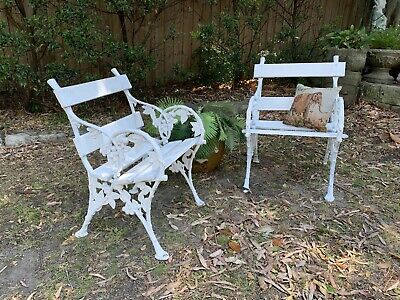 Pair Antique French Louis Style Cast Iron and Timber Outdoor Chairs~Patio Set