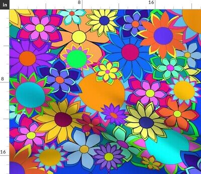 Blues Flowers Hippie Bright Colors Yellow Fabric Printed by Spoonflower BTY
