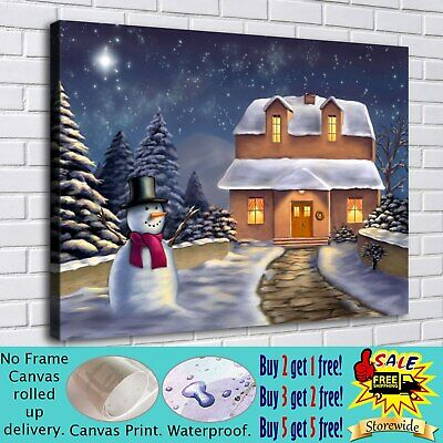 """16""""x22""""Christmas house HD Canvas Print Painting Home Decor Room Wall Art Picture"""