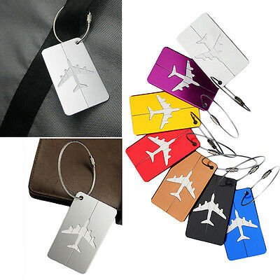 Travel Luggage Bag Baggage Aluminium Tag Suitcase Name Address ID Secure Labe IO