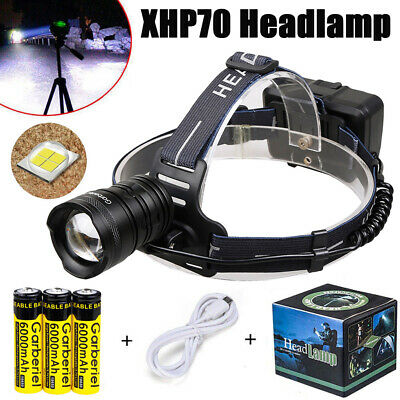 Super Bright 700000LM XHP 70 LED Headlamp Headlight Zoom USB Rechargeable 18650