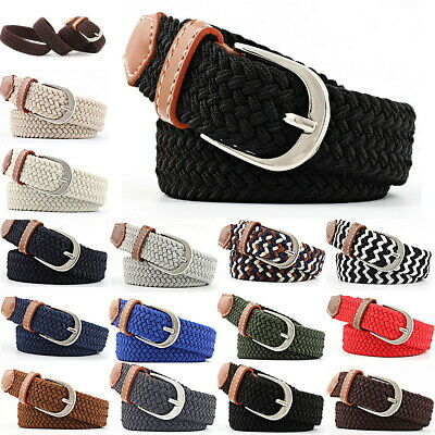 Mens Womens Ladies Elasticated Belts Canvas Stretch Elastic Braided Belt Buckle