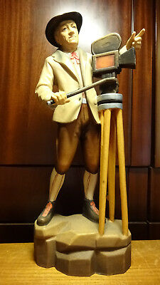 "Vintage 15"" Wooden Hand Carved Photographer Man With Camera Statue Figurine"