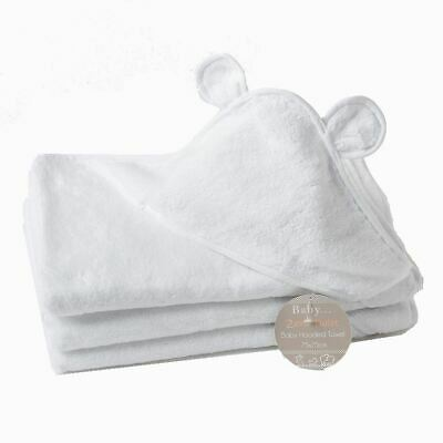 2 x Luxury Zero Twist 100% Cotton Baby Hooded Towel with Ears 75 x 75 cm