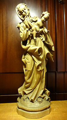 "✞ 17"" Vintage Hand Carved Wooden Our Lady Mary Madonna + Jesus Statue Figurine ✞"