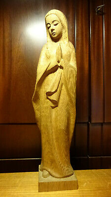"✞ 18"" Vintage Hand Carved Wood Praying Our Lady Mary Madonna Statue Figurine ✞"