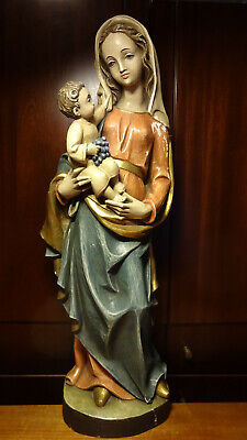 "✞ 28"" Vintage Hand Carved Wooden Our Lady Mary Madonna + Jesus Statue Figurine ✞"
