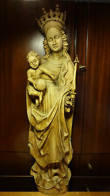 "✞ 30"" Antique Hand Carved Wooden Our Lady Mary Madonna + Jesus Statue Figurine ✞"