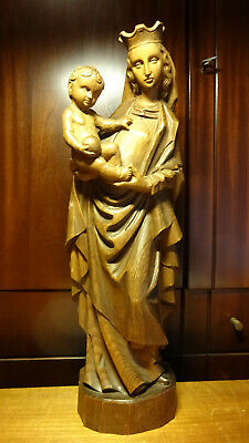 "✞ 21"" Antique Hand Carved Wooden Our Lady Mary Madonna + Jesus Statue Figurine ✞"