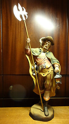 "Vintage 12"" Wooden Hand Carved Medieval Night Watchman Guard Statue Figurine"