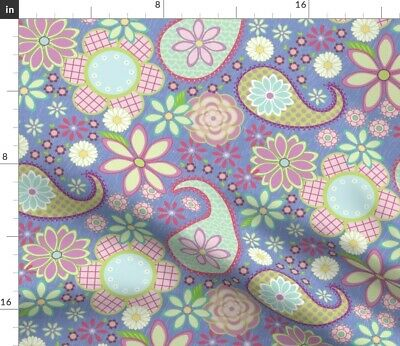 Flower Power Girl Paisley Pink Turquoise Fabric Printed by Spoonflower BTY