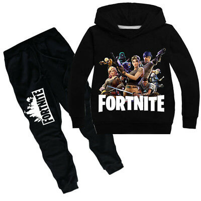 Hot 2Pcs Fortnite Sweater Children's Boys Girls Hooded Sportswear Bottoms