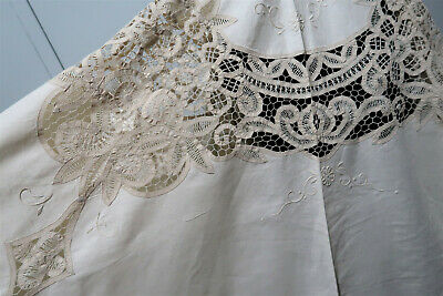 *Vintage 172cm Wide Hand Embroidered Cream Cotton Lace Tablecloth