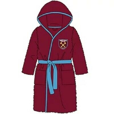 Boys Kids Official West Ham United Fleece Dressing Gown Robe Claret Hammers NEW
