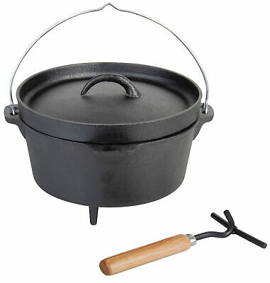 "Black Cast Iron Fire Cooking Pot Dutch Oven 10"" incl Lid Hook"