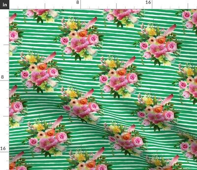 Floral Boho Roses Feathers Pink Flowers Baby Fabric Printed by Spoonflower BTY