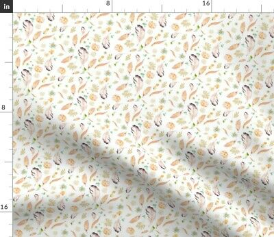 Feather Boho Floral Nursery Pink Flowers Baby Fabric Printed by Spoonflower BTY