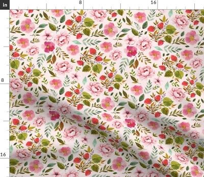 Baby Girl Flowers Strawberry Pink Roses Floral Fabric Printed by Spoonflower BTY