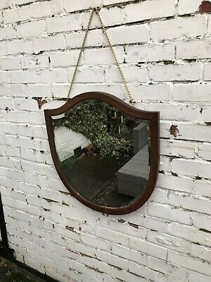 Vintage Mirror art deco Shield mirror with Hanging chain Aged Mirror Vintage