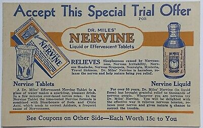 Old Vintage Quack Medicine Paper Advertisement Dr. Miles Nervine Trial Offer Ad