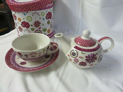 Tea Set for One - Cup, Saucer and Teapot Pink Floral Gift New Boxed