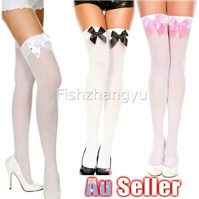 Ladies White Black Thigh High Costume Stockings with Bows Tights Fancy Dress NEW