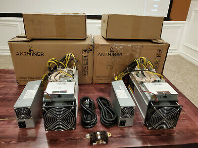 2x Bitmain Antminer S9 14 TH/s Bitcoin BTC ASIC Miner w PSU, Power Cables,Outlet