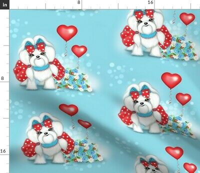 Maltese Dog Flowers Strawberries Balloons Fabric Printed by Spoonflower BTY