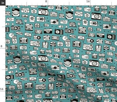 Blue Camera Winter Retro Vintage Boys Toy Fabric Printed by Spoonflower BTY