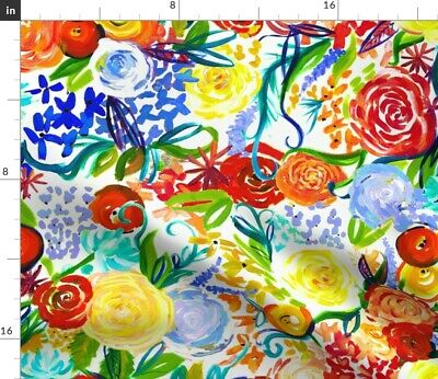 Floral Abstract Bright Colors Colorful Autumn Fabric Printed by Spoonflower BTY