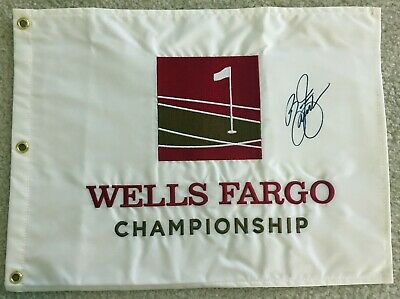 RICKIE FOWLER Signed Autographed Wells Fargo Championship Pin Flag, Quail Hollow