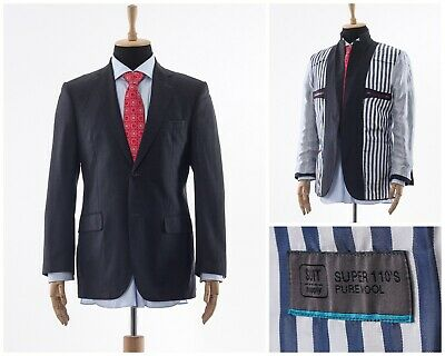 Mens SUITSUPPLY Blazer Coat Jacket Two Button Wool Charcoal Grey Size 40 M 50