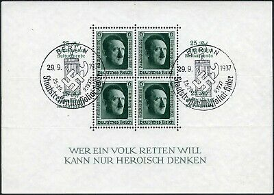 Germany 1937 Culture Fund Sheet Vfu Special Cancel Sg Ms637 Rouletted